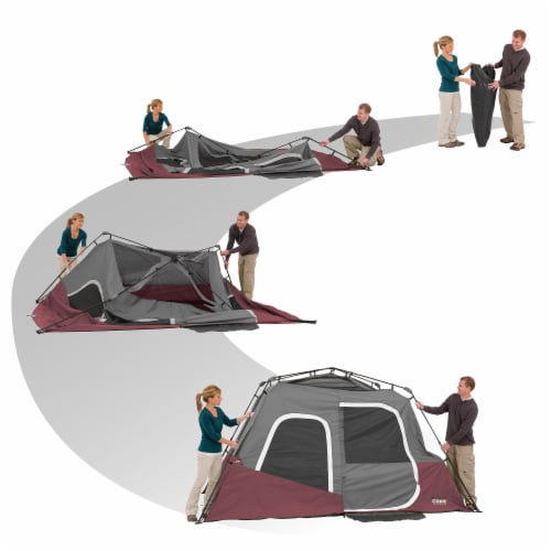 CORE Instant Cabin 11 x 9 Foot 6 Person Cabin Tent with Air Vents and Loft, Red Perspective: bottom