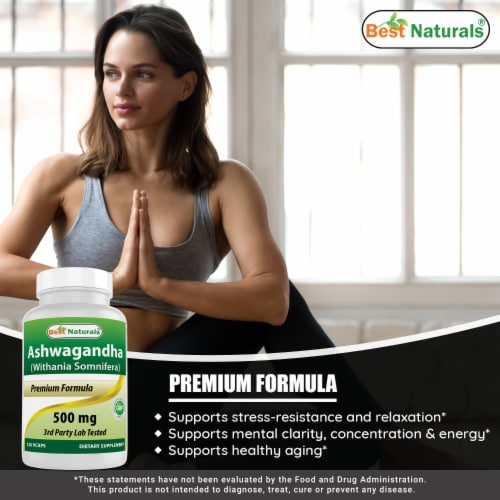 Best Naturals Ashwagandha 500 mg 120 Vegetarian Capsules Perspective: bottom