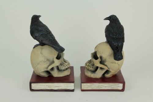 Evil Omen Raven On Skull Perch Decorative Bookend Set Perspective: bottom