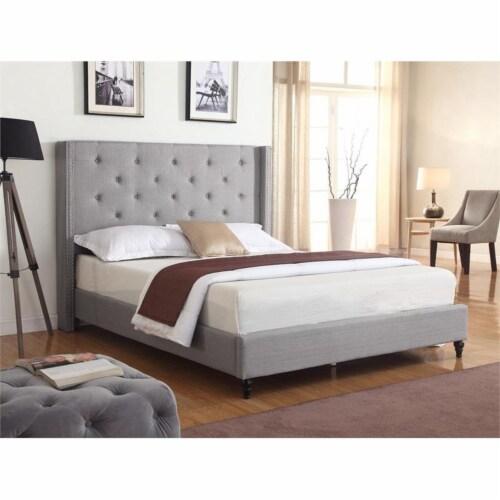 Best Master Valentina Fabric Upholstered Wingback East King Platform Bed - Gray Perspective: bottom