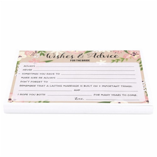 50 Sheet Floral  Wedding Game Cards Marriage Advice for Bridal Shower, Pink Perspective: bottom