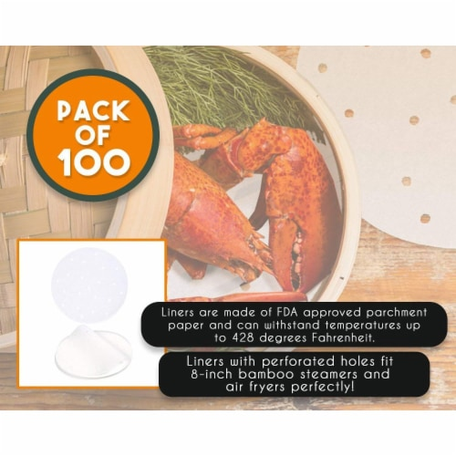 100-Pack 8 Inch Non-Stick Air Fryer Liners, Parchment Paper Sheet, Bamboo Steamer Liners Perspective: bottom