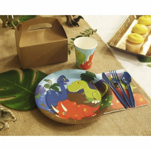 Dinosaur Party Dinnerware Set, Plates, Cutlery, Cups, and Napkins (Serves 24, 144 Pieces) Perspective: bottom