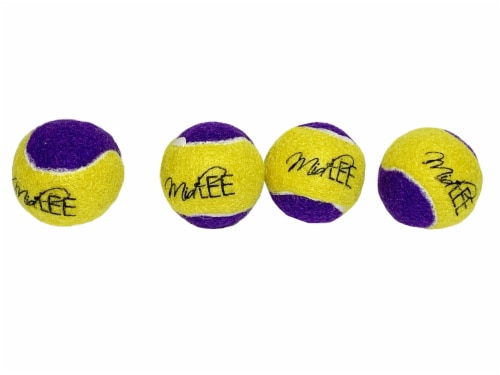 Midlee Squeaky Mini Tennis Ball for Dogs 1.5 - Pack of 12 (Yellow/Purple) Perspective: bottom