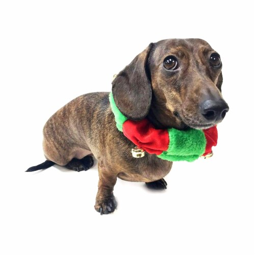 Midlee Red/Green Christmas Plush Bell Collar (Large) Perspective: bottom