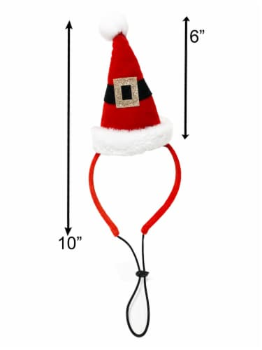Midlee Santa Hat Headband with Red/White Bell Collar for Large Dogs Perspective: bottom