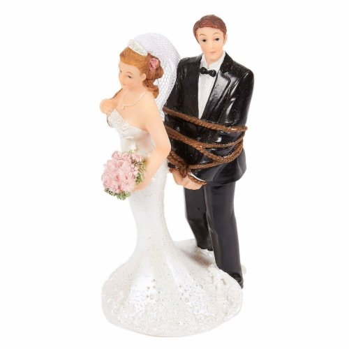 Juvale Fun Wedding Couple Figures Decorations Cake Topper - Bride Tied up Groom Figurines Perspective: bottom
