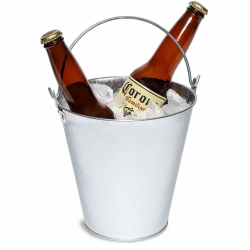 Juvale 3-Pack Galvanized Metal Ice Bucket Pails for Drinks, and Party Decorations, 7 Inches Perspective: bottom