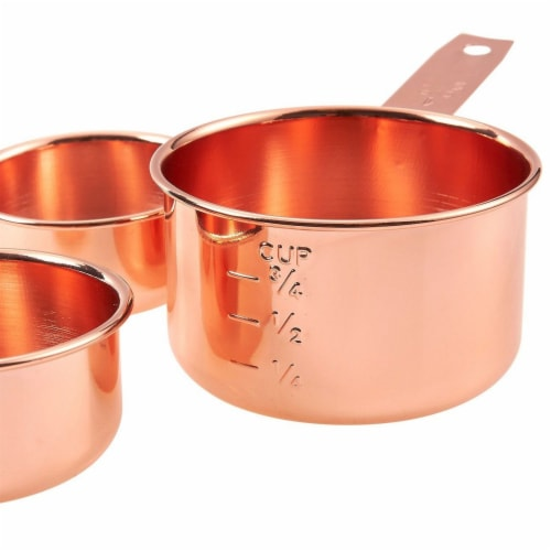 4-Piece Set of Stainless Steel Copper-Plated Measuring Cup Set for Baking, Cooking Perspective: bottom