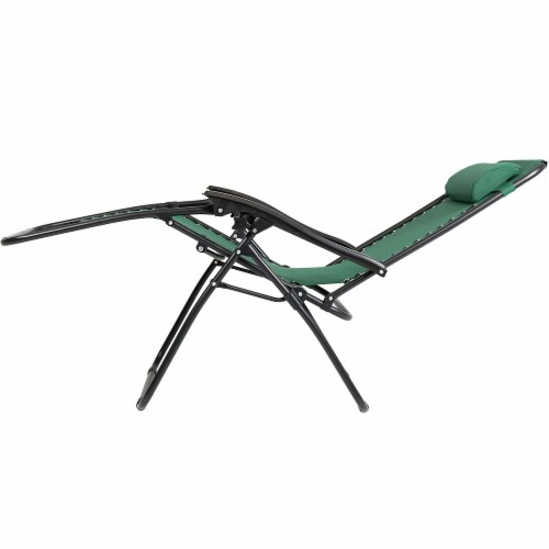 Sunnydaze Zero Gravity Lounge Lawn Chair and Side Table Set - Forest Green Perspective: bottom