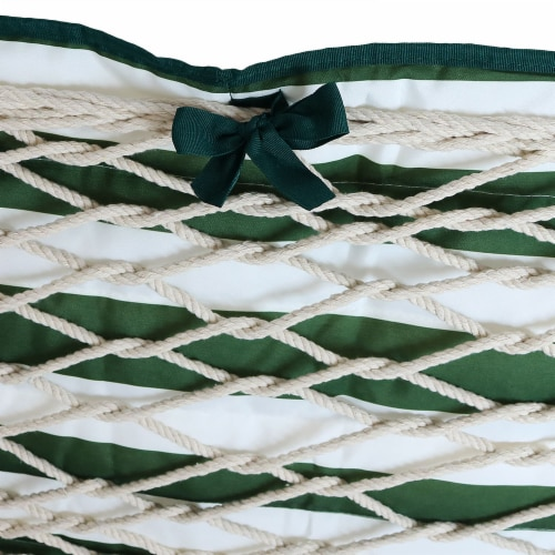 Sunnydaze Polyester Quilted Hammock Pad and Pillow Only Set - Green-White Stripe Perspective: bottom