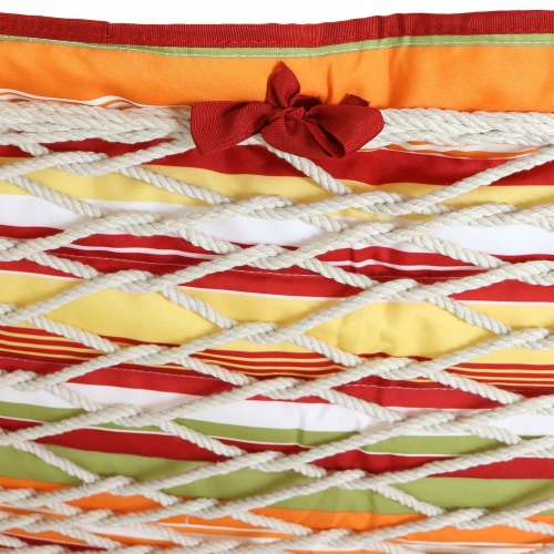 Sunnydaze Outdoor Polyester Quilted Hammock Pad/Pillow Only Set-Tropical Orange Perspective: bottom