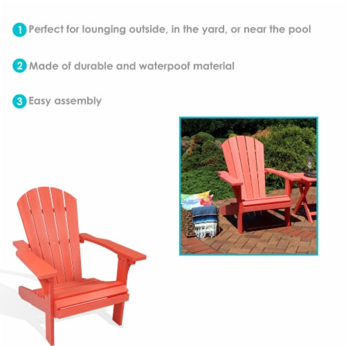 Sunnydaze All-Weather Outdoor Patio Adirondack Chair w/ Faux Wood Design -Salmon Perspective: bottom