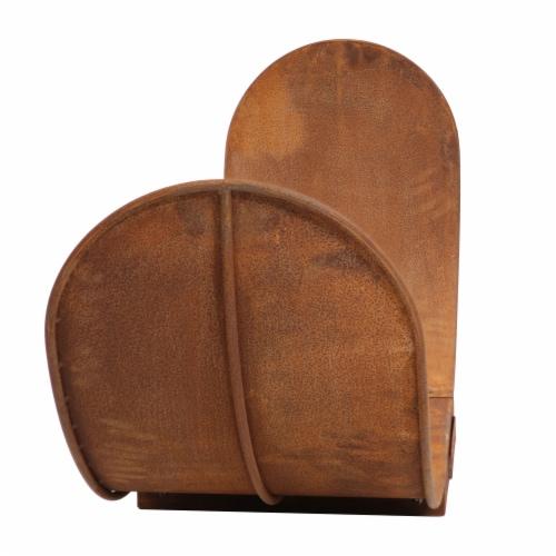 Sunnydaze Log Rack 4' Steel with Oxidized Rustic Finish Firewood Storage Perspective: bottom