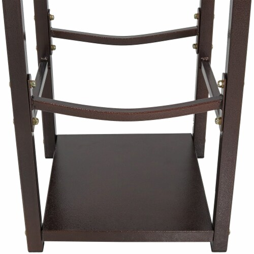 Sunnydaze Log Rack with Tool Holders Steel with Bronze Finish Firewood Storage Perspective: bottom