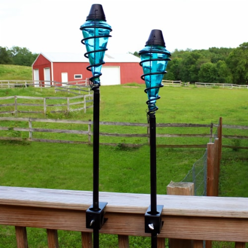 Sunnydaze 2-in-1 Metal Swirl with Blue Glass Outdoor Lawn Torch - Set of 2 Perspective: bottom