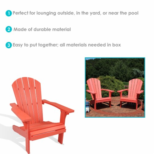 Sunnydaze All-Weather Outdoor Adirondack Chair - 2 PK - Faux Wood Design -Salmon Perspective: bottom
