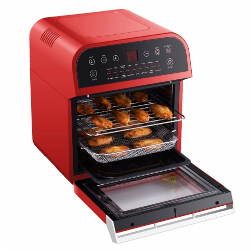 GoWISE USA Deluxe 12.7-Quarts 15-in-1 Electric Air Fryer Oven, Red Perspective: bottom
