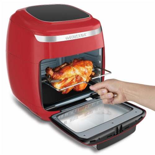 GoWISE USA 11.6-Quart Air Fryer Toaster Oven, Vibe, Red/Silver Perspective: bottom