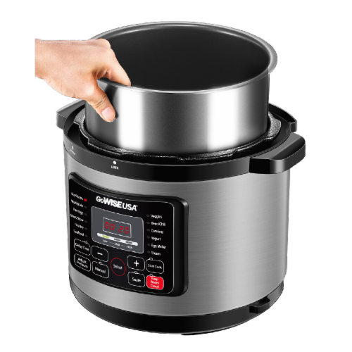 GoWISE USA 6-Quart 12-in-1 Multi-Use Programmable Pressure Cooker, Stainless Steel Perspective: bottom