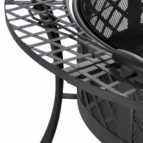 "Sunnydaze 40"" Fire Pit Black Steel Diamond Weave Design with Spark Screen Perspective: bottom"