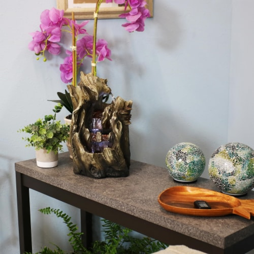 """Sunnydaze Cascading Caves Waterfall Water Tabletop Fountain Feature w/ LED - 14"""" Perspective: bottom"""