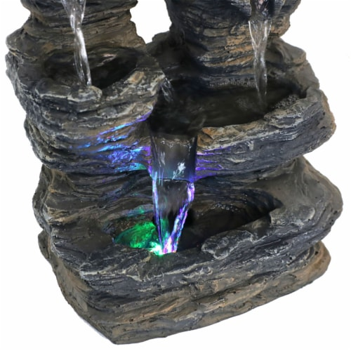 Sunnydaze Five Stream Rock Cavern Tabletop Fountain with Multi Colored LED Light Perspective: bottom