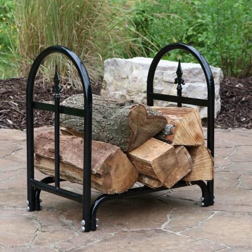 Sunnydaze Log Rack 2' Black Steel Indoor Outdoor Decorative Firewood Holder Perspective: bottom