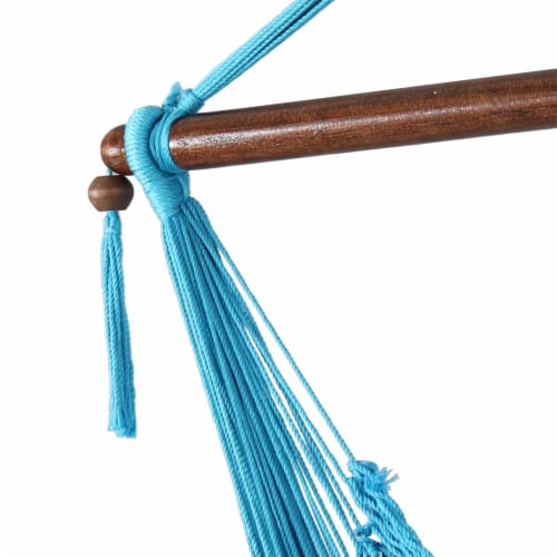 Sunnydaze Polyester Extra-Large Hanging Rope Caribbean Hammock Chair - Sky Blue Perspective: bottom
