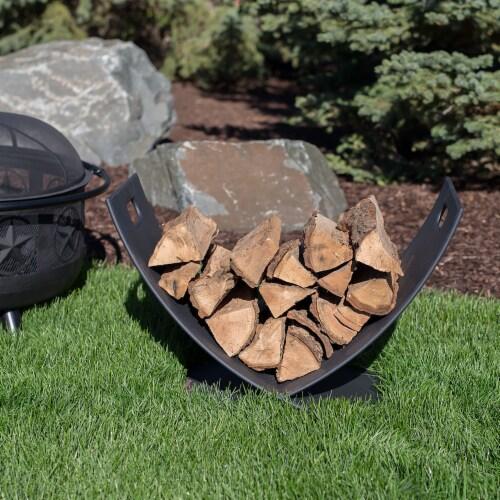 "Sunnydaze Log Rack 30"" Black Steel Holder Firewood Storage Fireplace Accessory Perspective: bottom"