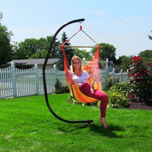 Sunnydaze Indoor-Outdoor Hammock Chair Swing and C-Stand Set - Summer Breeze Perspective: bottom