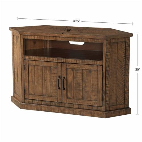 Martin Svensson Home Rustic Corner 50  Solid Wood TV Stand Natural Brown Perspective: bottom