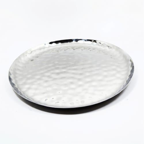 """Full Polished Stainless Steel 14"""" Round Service Tray Perspective: bottom"""