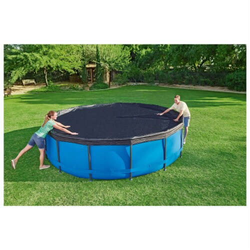 Flowclear 15 Foot Round Steel Pro MAXTM Above Ground Swimming Pool Cover, Black Perspective: bottom