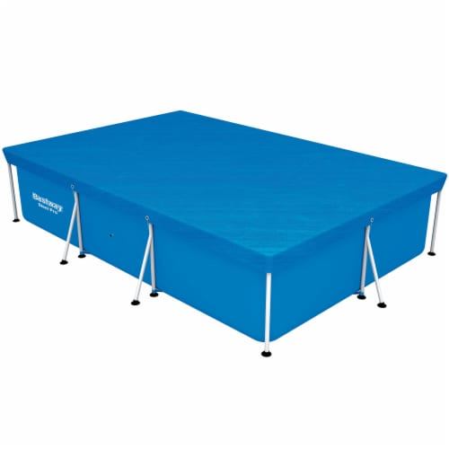 Bestway 58106 Flowclear Pro Rectangular Above Ground Swimming Pool Cover, Blue Perspective: bottom