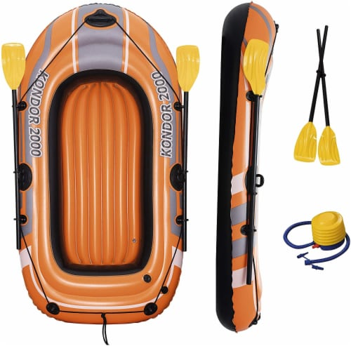 Bestway Kondor 2000 Inflatable Raft Boat Set with Oars and Pump Perspective: bottom