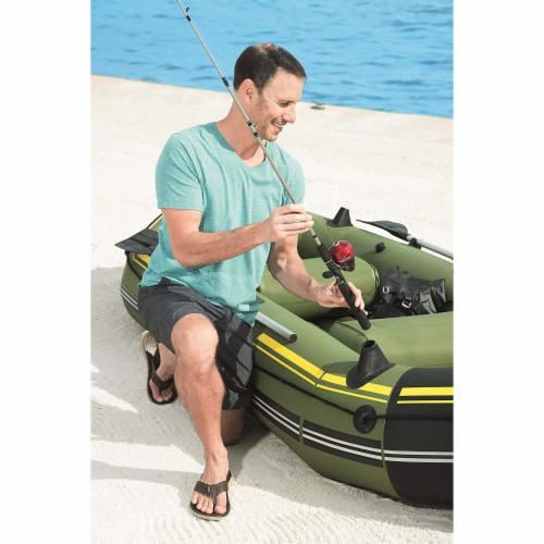 """Bestway Hydro Force Marine Pro 115"""" Inflatable 2 Person Boat Raft w/ Oars & Pump Perspective: bottom"""