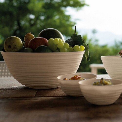 Guzzini Tierra collection bowl, made entirely by recycling 14  PET water bottles, milk white Perspective: bottom