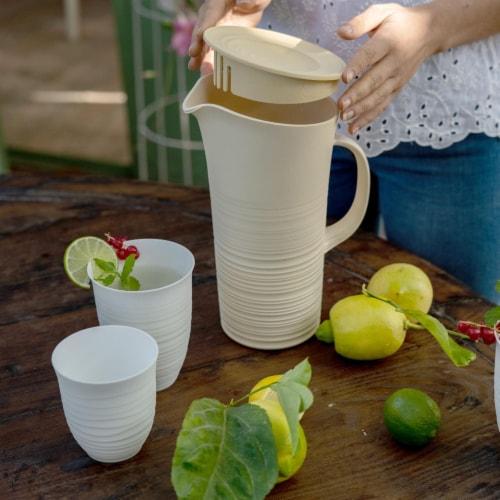 Guzzini Tierra pitcher with lid 1800cc, milk white Perspective: bottom