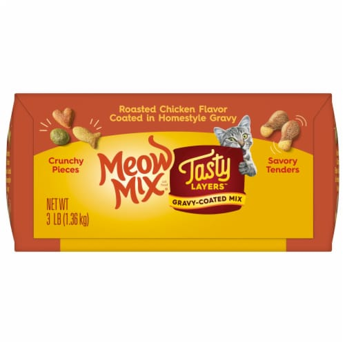 Meow mix tasty layers Roasted Chicken and Homestyle Gravy Flavor Dry Cat Food Perspective: bottom