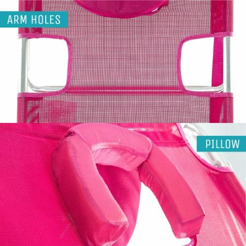 Ostrich 3 N 1 Lightweight Aluminum Frame 5 Position Reclining Beach Chair, Pink Perspective: bottom
