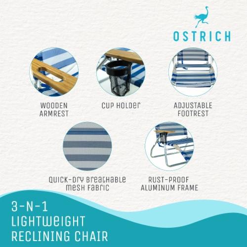 Ostrich 3 N 1 Lightweight Aluminum 5 Position Reclining Beach Chair, Striped Perspective: bottom