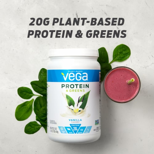 Vega Protein & Greens Plant-Based Vanilla Flavored Drink Mix Powder Perspective: bottom