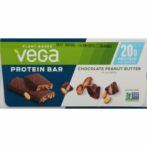 Vega Chocolate Peanut Butter Protein Bars 12 Count Perspective: bottom
