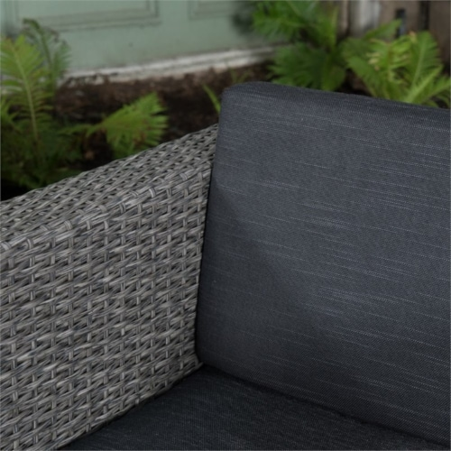 Noble House Puerta 6 Piece Outdoor Wicker Chair and Blended Wood Table Set Perspective: bottom