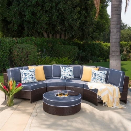Noble House Madras Saint Luca 5 Piece Outdoor Wicker Sectional Sofa Set in Navy Perspective: bottom