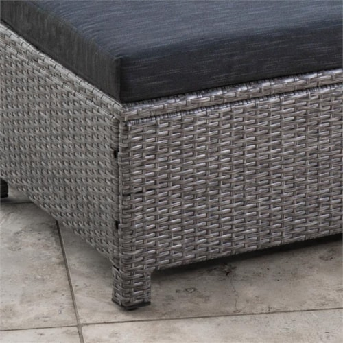 Noble House Puerta Outdoor 6 Pc Wicker Club Chair & Ottoman Set Gray Perspective: bottom