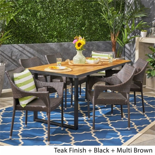 Noble House Welch 7 Piece Outdoor Acacia Wood and Wicker Dining Set in Teak Perspective: bottom