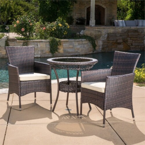 Noble House Parker 3 Piece Outdoor Bistro Set in Brown Perspective: bottom