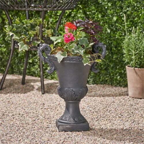 Noble House Delphine Outdoor Roman Chalice Garden Urn Planter in Black Perspective: bottom